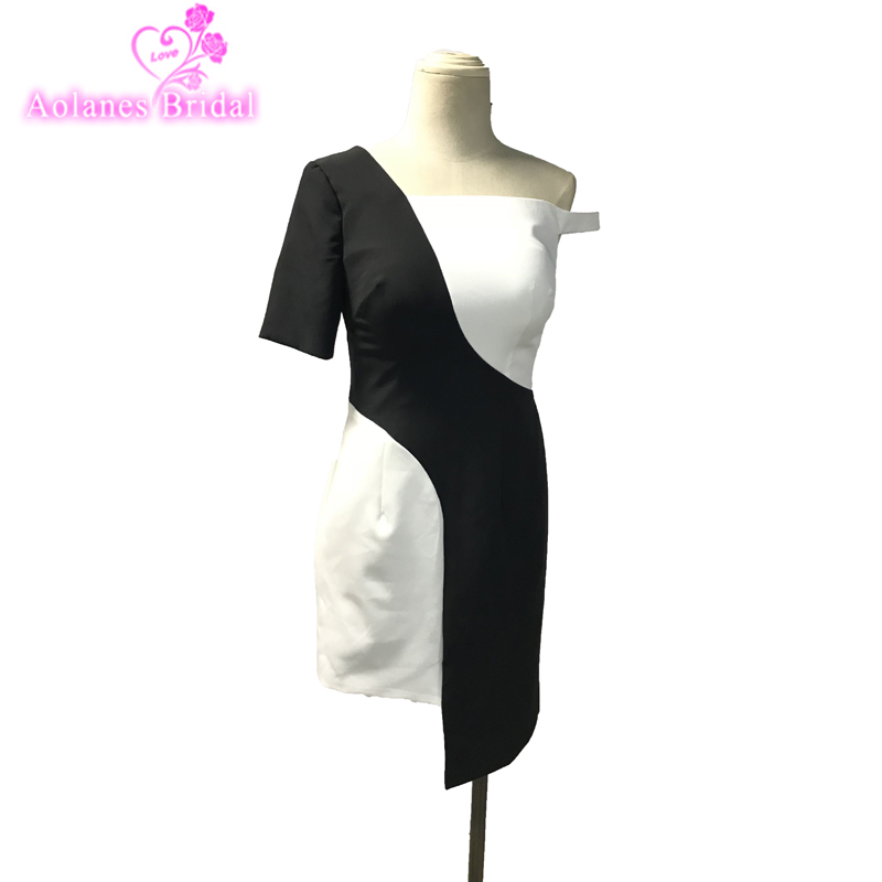 Sexy Black And White Short Prom Dresses 2018 New Straight Formal Party Gowns One Shoulder Mini In Stock Cheap Mini Party Gowns
