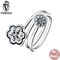 VOROCO Vintage 100 Real 925 Sterling Silver Seedpod Of The Lotus Open Finger Rings Women Vintage