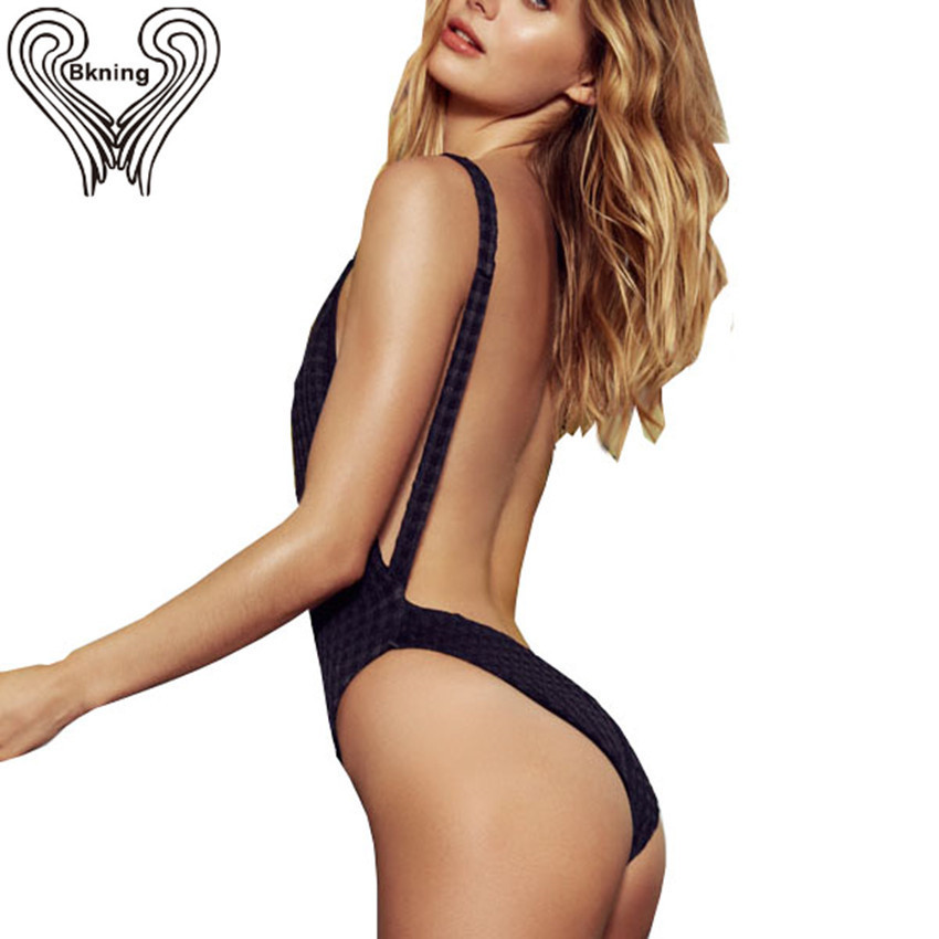 Black Backless One Piece Swimsuit High Cut Swimwear Sexy Women's Swimming Suit 2018 New Female Bathing Suit Monokini Beach Swim 2017 sexy black swimsuit one piece swimwear women backless female swimsuit high cut thong monokini pad bathing suit swim wear