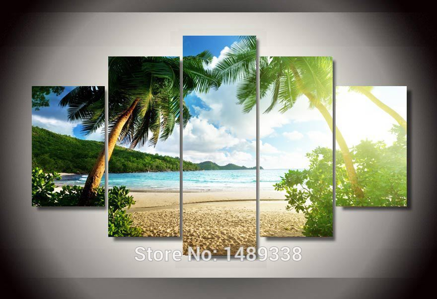framed printed beach palm tree group painting childrens room decor print poster picture canvas free shipping