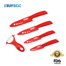 """Set de cuchillos de cerámica 3 """"4"""" 5 """"6"""" pulgadas + peeler + cubre hoja zirconia blanco color rojo abs manejar cuchillos de cocina"""