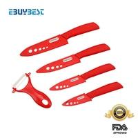 EBUYBEST Brand Ceramic Knife Set 3 4 5 6 Inch Peeler Covers Zirconia White Blade RED