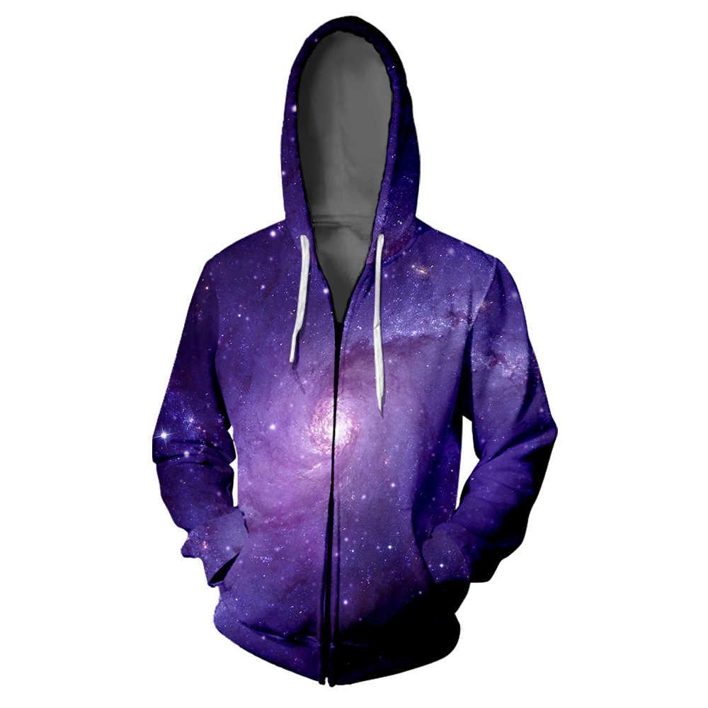 Langit Berbintang 3D Zipper Hoodie Sweatshirt Hip Hop Wanita Hoodie Galaxy Harajuku Pria Tinggi Jalan Ritsleting Kaus Kebesaran