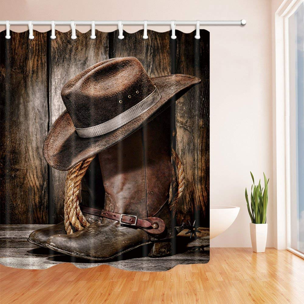 Western Cowboy Decor Boots On The Wooden In Farm Bath Curtain