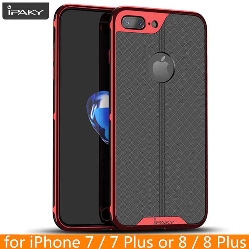 for iPhone 8 8 Plus Case iPaky for iPhone 6 6s Plus Electroplated Bumper TPU Hybrid Shockproof Cover for iPhone 7 7 Plus Case