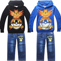 POKEMON GO Boys clothing set kids sport suit children tracksuit boys long shirt + pants gogging sweatshirt casual clothes 3-10 Y