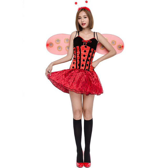 Women Halloween Lady Bug Ladybird Costume Ladies Fancy Cute Dress Wings Set  Lovely Insect Animal Cosplay