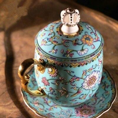 Taza de té chino Llarge capacidad 400 ml casa Jingdezhen agua taza de esmalte de Color con tapa Oficina reunión tazas de té caja de embalaje-in Tazas y platillos from Hogar y Mascotas    1