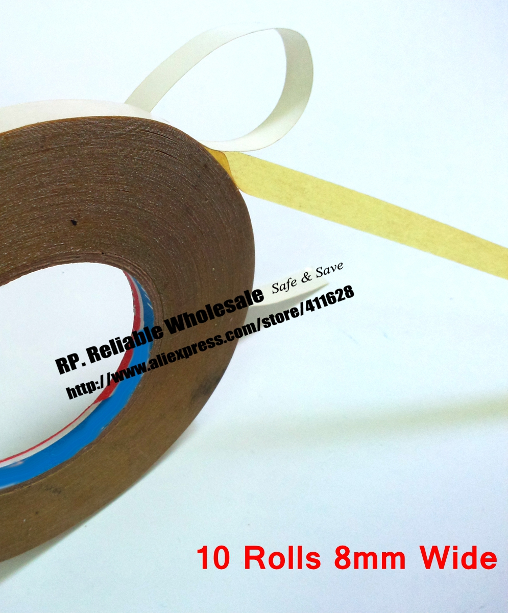 10 Rolls 8mm wide, 30M Strong Adhesive, Double Oil Glue Sticky Tape for Cloth, Embroider Machine Stitch DIY 10 rolls 8mm wide 30m strong adhesive double oil glue sticky tape for cloth embroider machine stitch diy