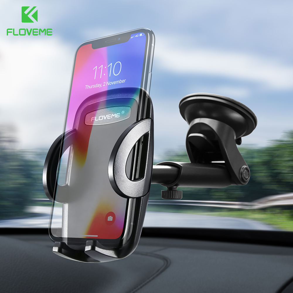 FLOVEME 360 Degree Rotation Car Phone Holder For iPhone XS Max Phone Holder Stand Telefon Tutucu Windshield Mount Stand Support in Phone Holders Stands from Cellphones Telecommunications