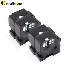 Greateam 4 упак. 53710 черный на прозрачном совместимый Dymo D1 этикетки Ленточный Картридж для принтер Dymo Этикетки LM 450, 24 мм* 7 м