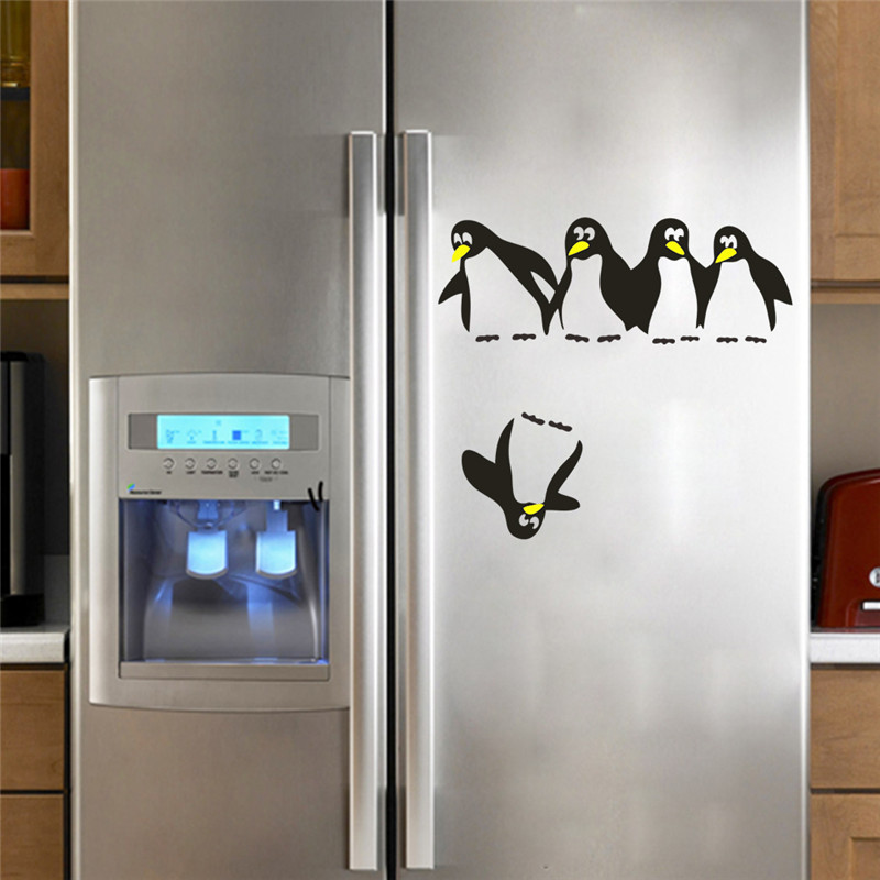 Funny Save Penguin Kitchen Fridge Sticker Decals Dining Room Kitchen Wall Stickers Home Decor For Refrigerator