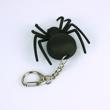 black Spider sound light keychain mobile phone pendant gift LED flashlight Halloween gifts wholesale