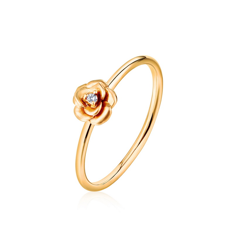 JXXGS Beautiful Rose Flowers White Zircon Fashion Simple Ring 14K Gold Ring Gold/Rose Gold Ring Color For Women