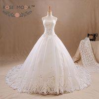 Sweetheart Lace A Line Wedding Dress Crystal Beaded Lace Corset Wide Lace Hem Vestidos de Noiva Real Photos