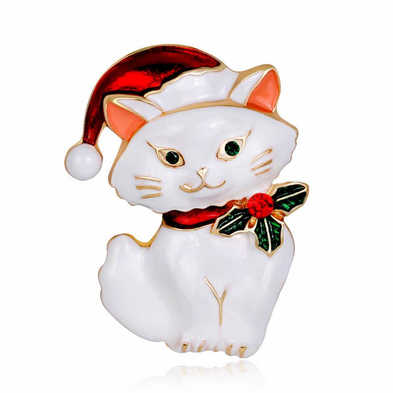DoreenBeads Christmas Gift Enamel Pin Cute Cat Wear Christmas Hat Brooch Pins for Kids T Shirt Sweater Coat Scarf Decor 4.3x3cm