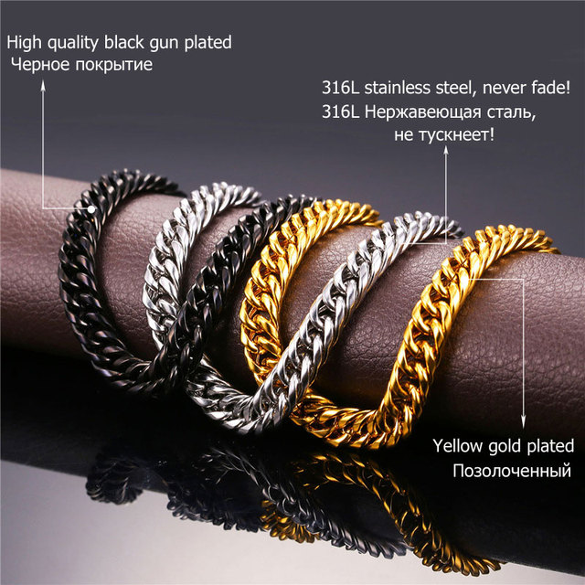 U7 Hip Hop Chains For Men Jewelry Wholesale Yellow Gold Plated Thick Stainless Steel Long Big Chunky Hippie Rock Necklace N453