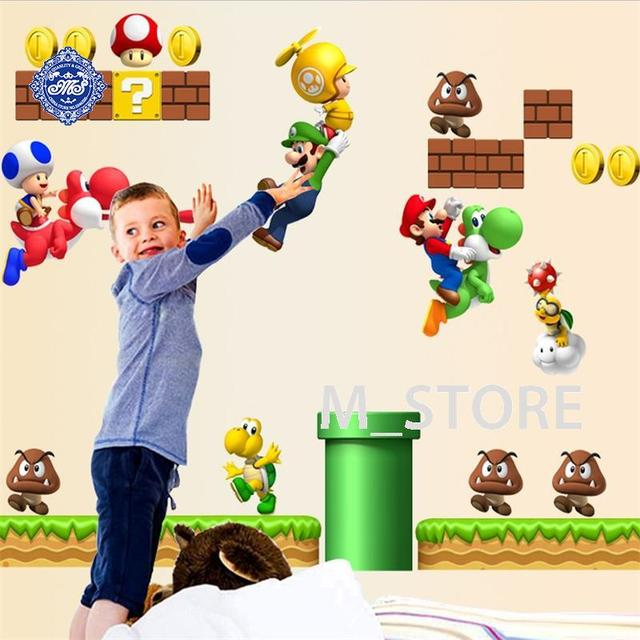 Super Mario Bros Cartoon Wall Sticker Home Decor For Kids Room Baby Bedroom Mario  Stickers Murale