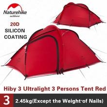 Naturehike Hiby التخييم خيمة 3 4 أشخاص خفيفة للغاية في الهواء الطلق الأسرة التخييم طبقة مزدوجة غير نافذ للمطر السفر خيمة التنزه NH17K230 P