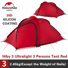 Naturehike Hiby kamp çadırı 3 4 kişi Ultra hafif açık aile kamp çift katmanlı yağmur geçirmez seyahat çadırı yürüyüş NH17K230 P