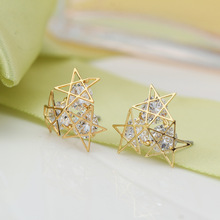 Anti Allergy Popular Crystal CZ Crystal Hollow Five Pointed Stud Earrings Luxury gold color Brincos Earrings For Women