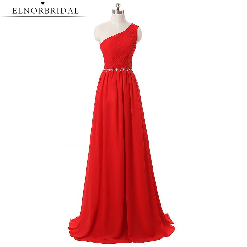 Cheap Red Prom Dress 2017 One Shoulder Robe De Soiree Longue Pleat Chiffon A Line Special Occasion Evening Party Dresses