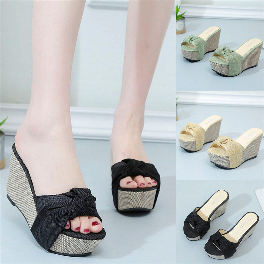 Bow Sandals Shoes Wedge Platform High-Heel Summercasual-Style Slip-On Peep-Toe Women