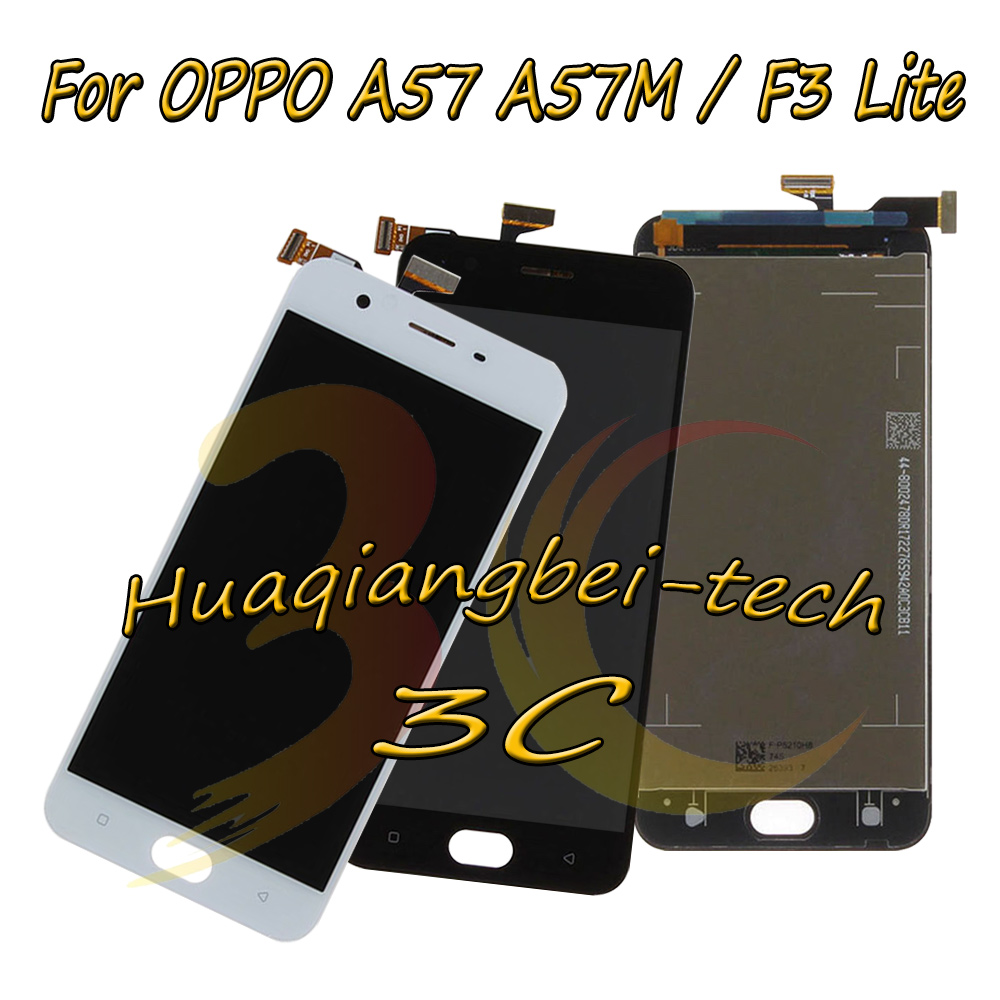New 5.2'' Black / White For <font><b>OPPO</b></font> <font><b>A57</b></font> A57M / F3 Lite Full LCD <font><b>DIsplay</b></font> + Touch Screen Digitizer Assembly 100% Tested With Tracking image