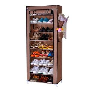 Image 2 - 9 Drawer Shoes Shelves Large Shoe Rack Stool Storage Wardrobe Rack Shoe Organizer Zipper Sapateira Folding Cabinet