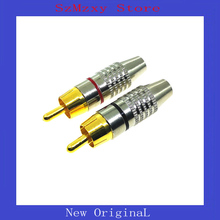 1Pair High Quality  Gold RCA Phono Male Plug Solder AV Audio Video Cable Adapter Connector цена