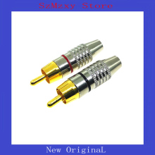 2Pair=4pcs High Quality  Gold RCA Phono Male Plug Solder AV Audio Video Cable Adapter Connector цена