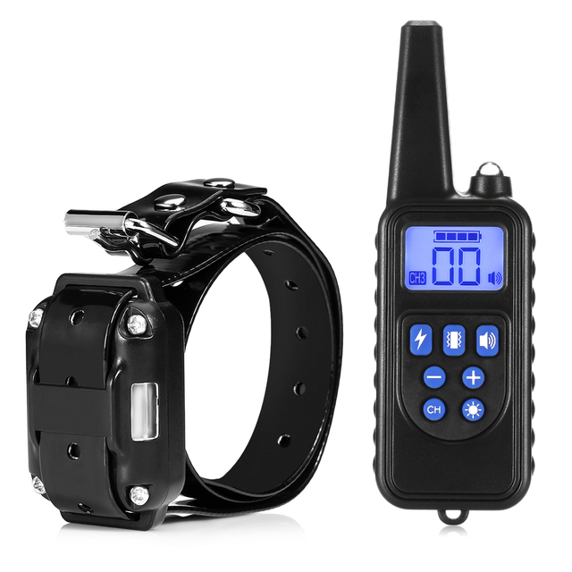 Electric Dog Training Collar 800M Remote Control Waterproof Rechargeable Pet Collar Bark-stop Electric Training Dog Collar EU US