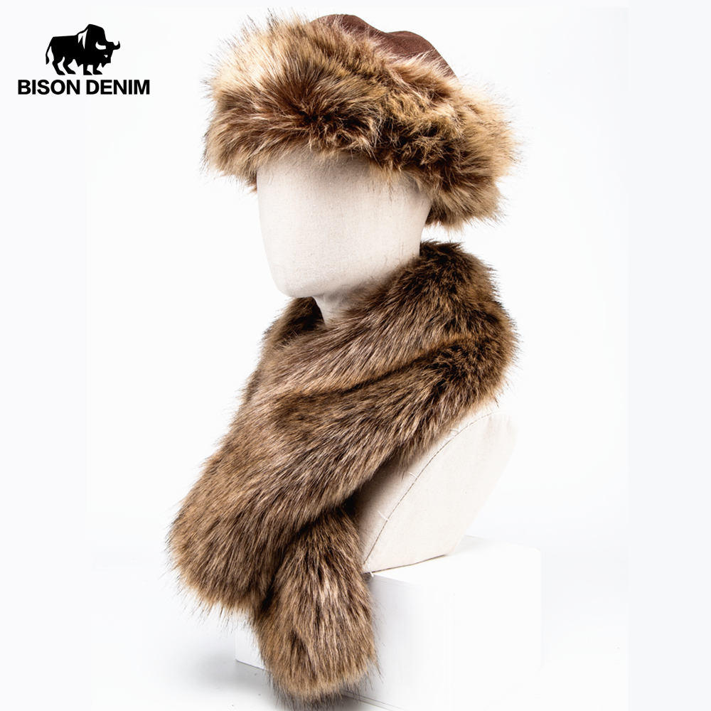 BISON DENIM Faux Fur Hat Winter Warm Russian Cap Earflap Snow Caps hat Ushanka Bomber Hats with Fur Scarf 2 pcs M9495(China)