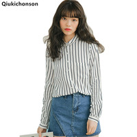Women Striped Shirt Long Sleeve 2018 Spring Summer Tops Ladies Casual Loose Office Shirt Fresh Preppy