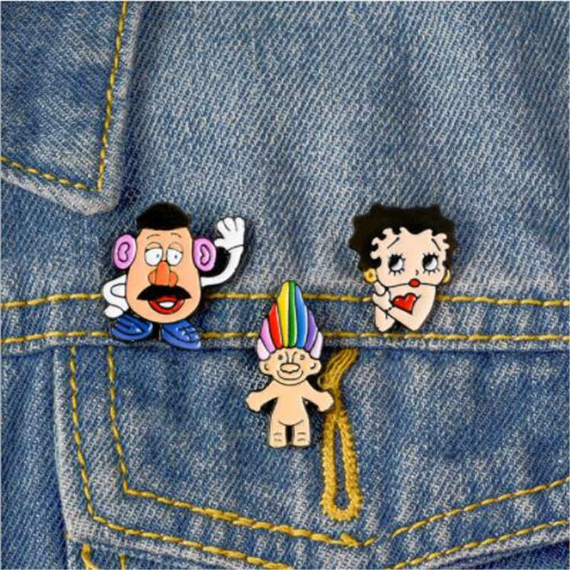 Wkoud Karakter Kartun Bros Anime Betty Simpson Bros Ransel Mahasiswa Pakaian Bros Pin Tas Dekorasi Bros Lencana Perhiasan