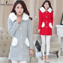 PinkyIsblack New 2019 Autumn Winter Women Wool Coat Hooded Long Elegant  Wool Blend Coats Slim Type Female Pockets Coat Outwear wool blend duffle hooded coat