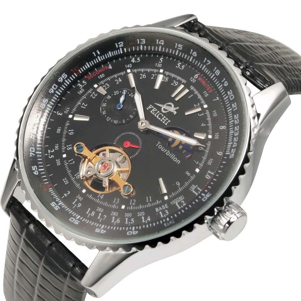 где купить  Fashion Men Mechanical Watch Luxury Automatic Tourbillon Watch Moonphase Leather Sport Wristwatch Relogio Masculino  по лучшей цене