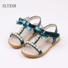 SLYXSH Summer Girls Sandals Children Shoes Rhinestone Princess Dress Shoes Flip Flops With Elastic Band Beach Sandal Size 21-30