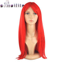 S Noilite 60cm Women Anime Long Straight Wig Cosplay Party Costume Heat Resistant Black Blonde Red