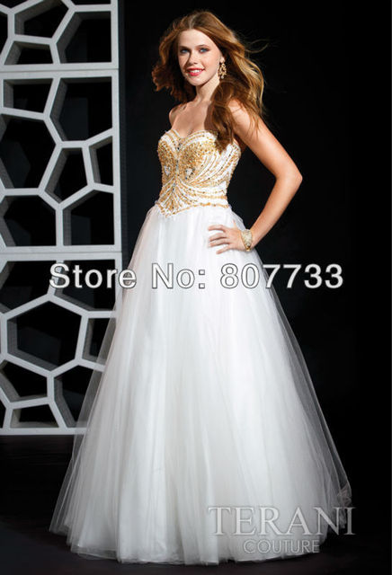 CW381 Adorable sweetheart gold beaded a line white puffy zyhair ...