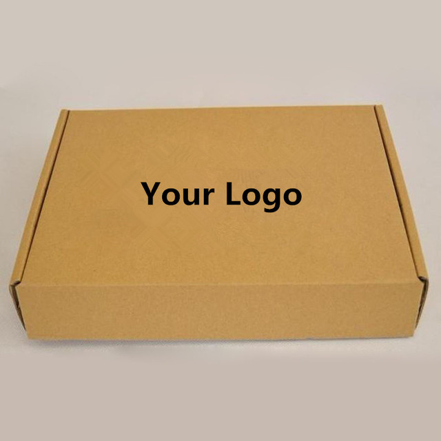 a4c589bcb22 100PCS lot Custom Kraft Brown Corrugated paper box Printed logo mailer  shipping boxes Packaging T-shirt Underwear Baby clothing
