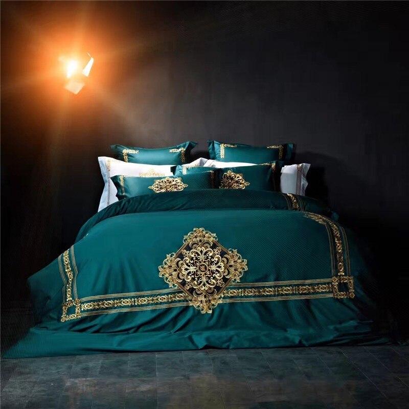 100% Egypte Katoenen Beddengoed 4/6 Stks Queen/kingsize Luxe Koninklijke Borduurwerk Beddengoed Set Vlakke Plaat Sets Dekbedovertrek Bedlinens 36