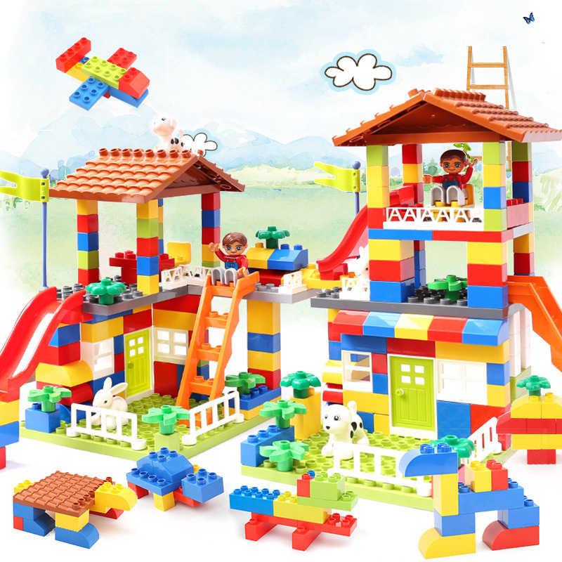 Горячая 89 шт. DIY красочный городской дом крыша большая частица строительные блоки замок обучающая игрушка для детей Duploes Slide подарок для девочек