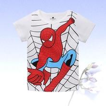 Летняя одежда для мальчиков футболка с короткими рукавами из чистого хлопка с рисунком паука качественная одежда для детей 2-8 лет г., лидер продаж