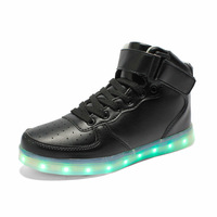 High to help casual shoes LED colorful LED light shoes USB rechargeable shoes wholesale