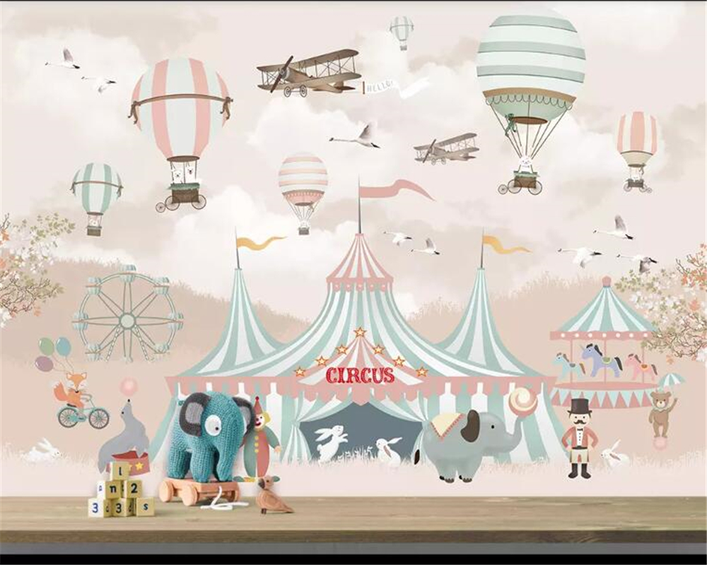US $8 85 OFF Beibehang 3d Wallpaper Cartoon Hot Air Balloon Airplane Animal Pup Circus Playground Background Wall 3d Wallpaper