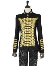Black 2016 new arrival clothes women stage singers dance personality woman slim women's jacket and coat gold wire punk XL