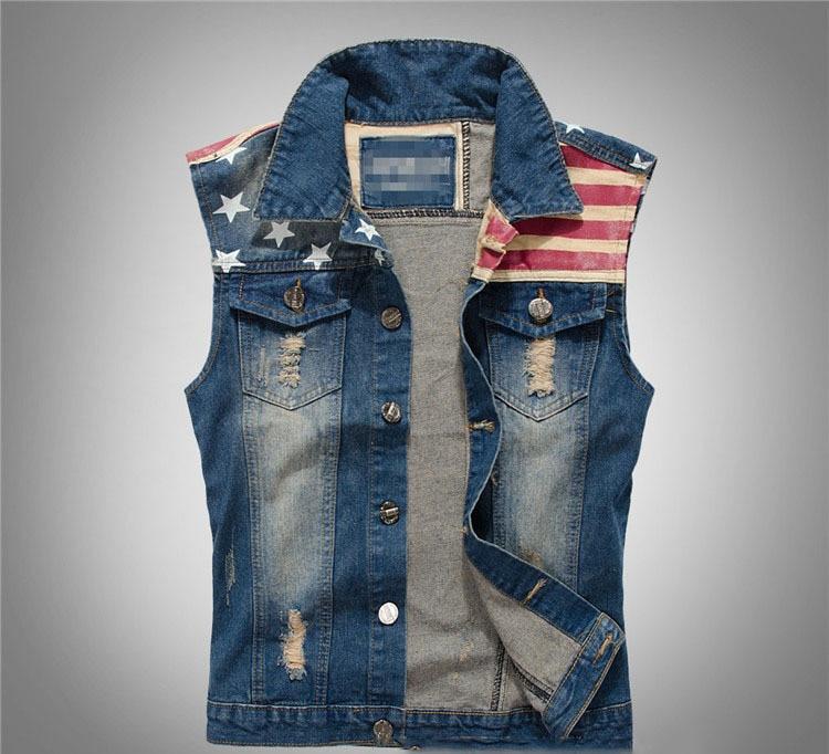 Summer Outerwear Coats Fashion Western Men Jeans Vest