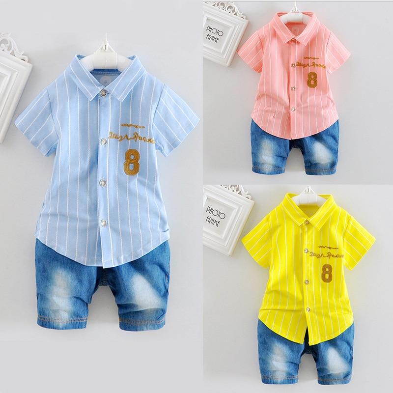 Baby Boys Clothing Set Toddler Cotton Baby Kids Clothes Summer Casual Children Suit Infant T-shirt+Pants 2Pcs Boy Gentleman Suit