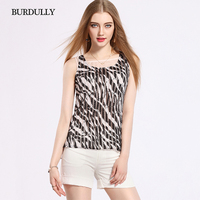 BURDULLY Women Vest Sleeveless T shirts Casual Slim Crop Top Leopard Print Lace Tank Tops Cotton 2019 Summer New Women Acrylic